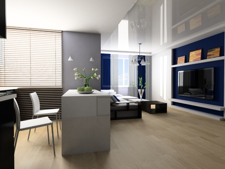 Sofa and lunch zone in studio apartment 3d image