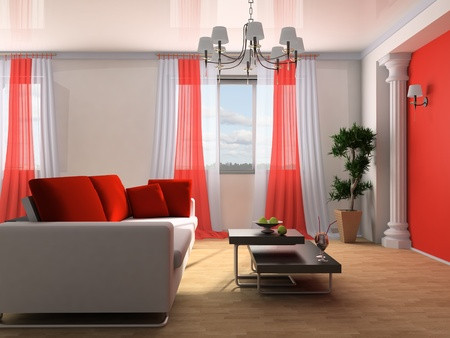 White sofa in a drawing room 3d image Stock Photo - 9731099