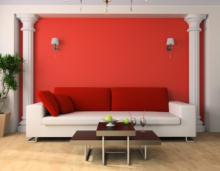 White sofa in a drawing room 3d image Stock Photo - 9731100
