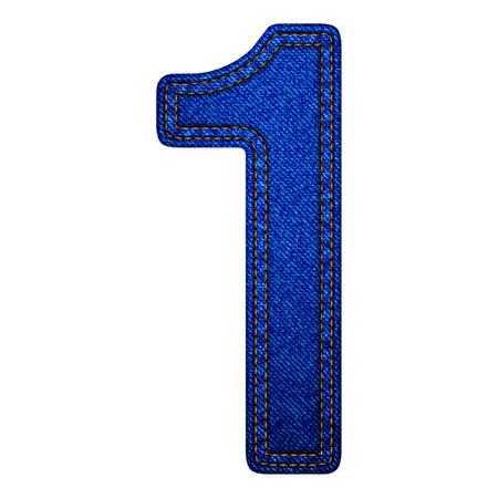 Jeans alphabet letters number 1, denim texture. Vector illustration modern template design Illustration