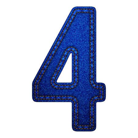 Jeans alphabet letters number 4, denim texture. Vector illustration modern template design