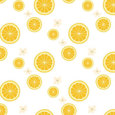 Sliced orange and flower pattern wallpaper