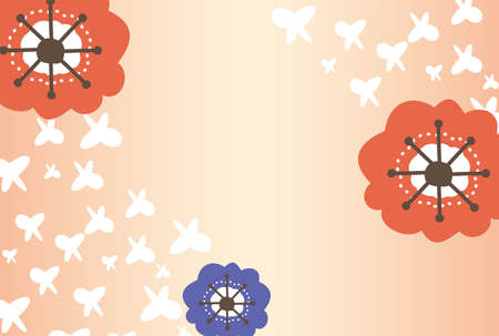 Red and blue flowers and pink background with white butterflies flying