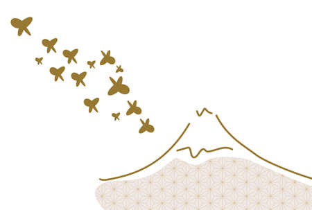 Japanese-style New Years card design Mt. Fuji and butterflies Ilustracja
