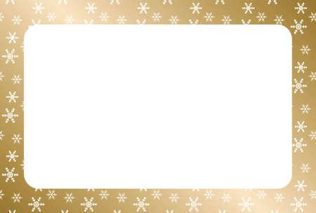 White snow flake frame with golden gradient background Standard-Bild - 133449842