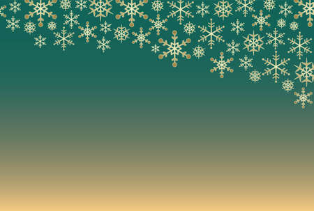Green gradient background and snowflake background Çizim