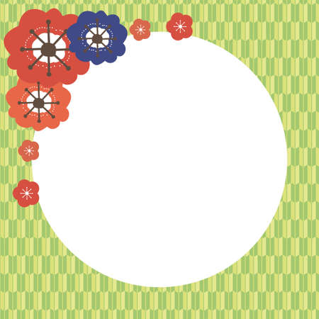 Square frame with red and blue plum blossoms and yellow-green arrow pattern