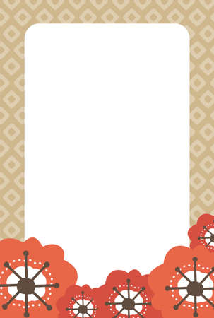 Red plum blossoms and beige Japanese-patterned frame
