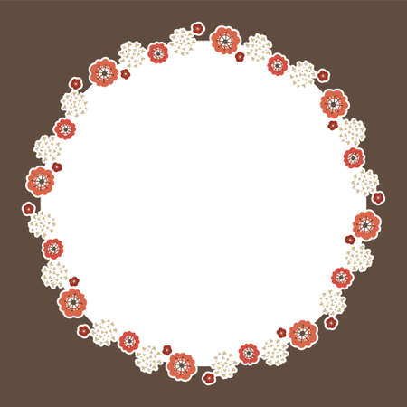 Round frame of red plum blossoms with brown square background  イラスト・ベクター素材