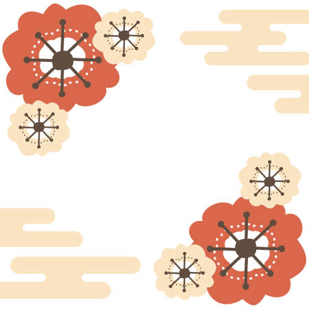 Square frame of red and pink plum blossoms and Japanese-style cloud