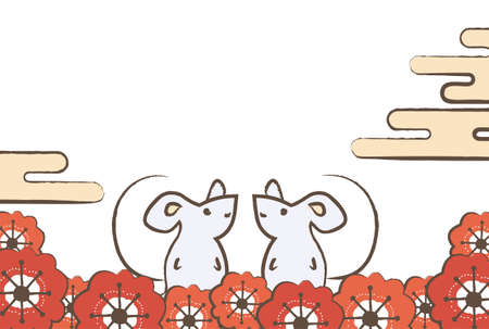 Japanese-style New Year's card of two mice facing each other, a cloud and plum blossoms