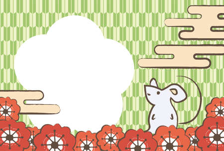 Japanese pattern background New Year's card of the cloud, the mouse, and the red plum flower
