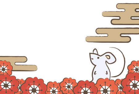 New Year's card of the cloud, the mouse, and the red plum flower