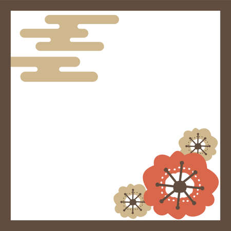 Japanese-style square frame of mule clouds and plum blossoms