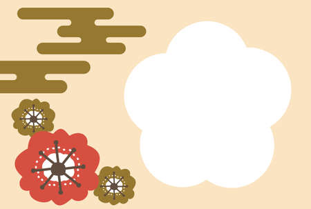 Japanese-style New Year's card of golden cloud and plum blossoms