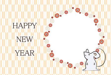 Japanese-style New Years card with round frame of plum blossoms and mouse  イラスト・ベクター素材