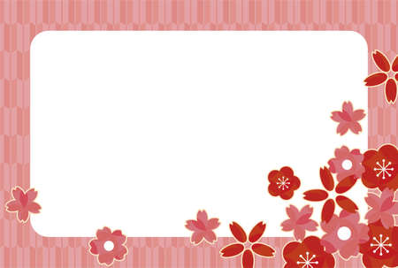 Japanese pattern frame of red plum and pink cherry blossoms