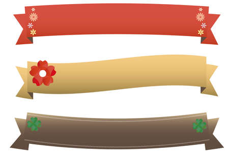 Red and gold and brown ribbon set