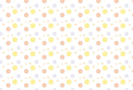Spring wallpaper of butterflies and pink and yellow and light blue flowers Stock Illustratie