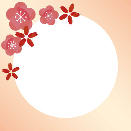 Spring square frame with red cherry blossoms and pink plum blossoms