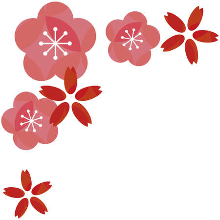 Pink plum blossoms and red cherry blossoms Ilustrace