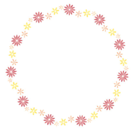 round frame of pink and yellow florets