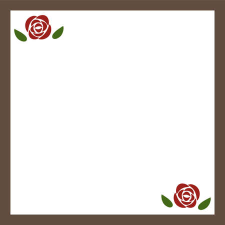 Brown square frame of rose flowers