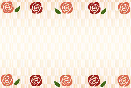 Pink and red rose flowers and arrow-patterned wallpaper Ilustrace