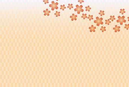 Cherry Blossoms and Pink Yahagi Pattern Background Ilustrace