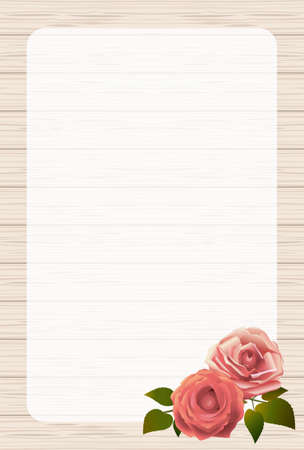 Wood-grain board and rose flower frame portrait