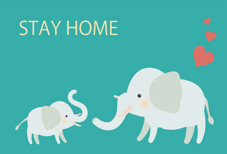 Elephant Parent and Child Stay Home Postcards - Horizontal