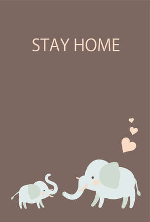 Elephant Parent and Child Stay Home Postcards - Vertical Иллюстрация