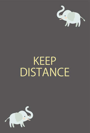 Social Distance of Two Elephants - Vertical