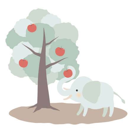 Illustration of an elephant taking an apple from a tree Иллюстрация