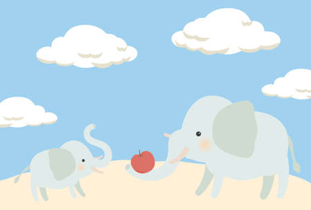 Postcards of elephant parents and children