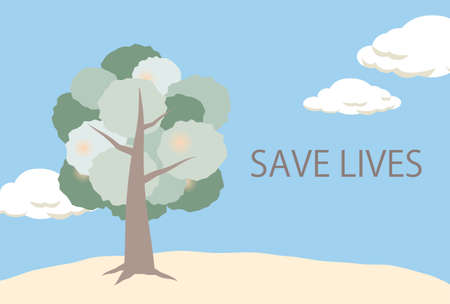 A postcard of a tree and a blue sky SAVE LIVES Stock Illustratie