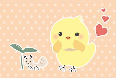 A postcard of chicks that love ants  イラスト・ベクター素材