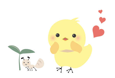 Chick who loveants  イラスト・ベクター素材