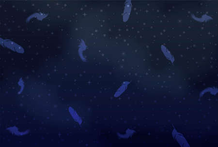 Background material of the night sky and falling feathers