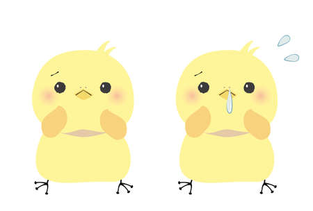 Troubled face chick and runny nose set in a hurry 일러스트