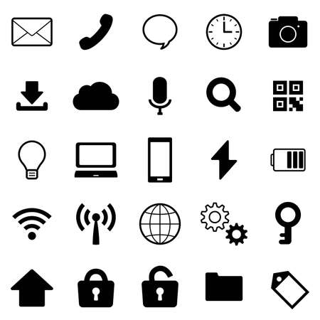 Black and white business icon set