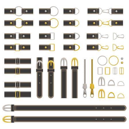 Belt parts set black  イラスト・ベクター素材