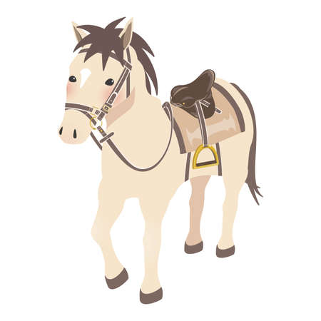 Horseback riding image Horse with horse equipment light brown