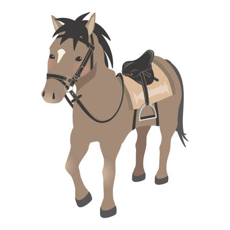 Horseback riding image horse with horse equipment brown