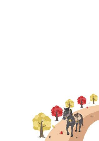 Autumn Horseback Riding Image 2 A4 Vertical Copy Space