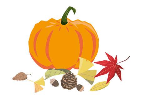 Image of Autumn Orange Pumpkin and Fallen Leaves