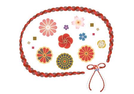 Color icon set of Japanese flower motif  イラスト・ベクター素材