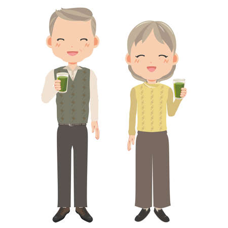 Seniors with a smile and green juice in  hand Stock Illustratie