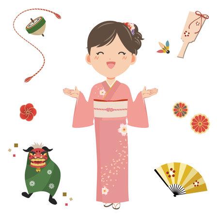Women in Kimono and New Year's Motifs