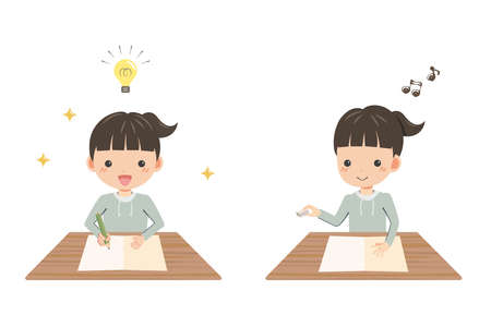Illustration of girl studying happily